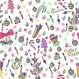 Colorful Pattern with Christmas Elements Stock Photography