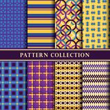 Modern yellow, purple and blue pattern. stock photography