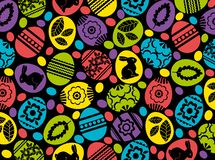 Colorful pattern with color easter eggs, flowers, leafs and rabbits over black background. Easter design. Can be used for fabric,. Wallpaper, pattern fills, web stock illustration