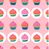 Colorful pattern with cupcakes Royalty Free Stock Images