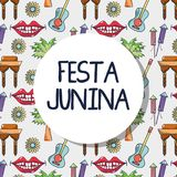 Colorful pattern with elements of festa junina celebration. Vector illustration Stock Photos