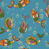 Colorful pattern with fish retro. Vector colorful pattern with fish retro Royalty Free Stock Images