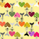 Colorful pattern of fish skeleton with head-heart. Colored  illustration for hundred percent Royalty Free Stock Photography