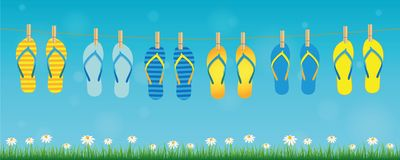 Colorful pattern flip flops hanging on a rope on turquoise background with green grass and daisy flowers. Summer holiday design vector illustration EPS10 stock illustration