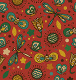 Colorful pattern with flowers, dragonflies and butterflies. Ornate fabric seamless texture. Doodle gorgeous background. Colorful floral pattern with flowers vector illustration
