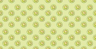 Colorful pattern of fresh bergamot slices on green background. From top view.  stock images