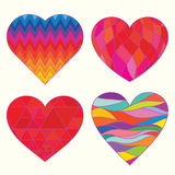 Colorful pattern hearts set, valentine's day love Royalty Free Stock Image