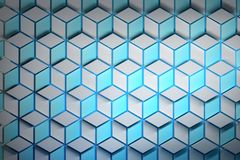 Colorful pattern with hexagons and rhombuses. Colorful pattern with three dimensional hexagons made of rhombus in blue, gray and white colors. 3d illustration stock illustration
