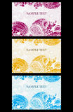 Colorful pattern invitations set. Vector color pink, blue, yellow pattern invitation set with text frame Stock Image