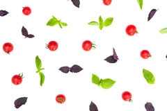 Colorful pattern made of cherry tomatoes, purple and green basil on white background. Cooking concept. Royalty Free Stock Photos