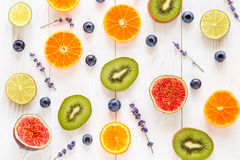 Colorful pattern made of fruits top view Royalty Free Stock Images