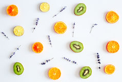 Colorful pattern made of fruits on white background Stock Photography