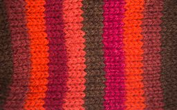 Colorful pattern ow a hand made wool socks. Natural clothing. Bright colors, close up pattern Royalty Free Stock Image