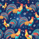 Colorful pattern with roosters Stock Photos