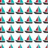 Colorful pattern with sailing boats. Vector illustration royalty free illustration