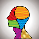 Colorful pattern shape of human head Stock Image
