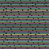 Colorful pattern with stripes. Dashed lines. Seamless pattern in memphis style. 80s 90s style. Vector. Illustration Stock Image