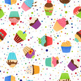 Colorful pattern with sweet cupcakes Royalty Free Stock Photography