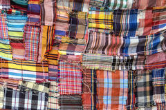 The colorful pattern of Thai cloth. The pattern of loincloth in Thailand Royalty Free Stock Photography