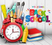 Colorful and Patterned Back to School Text in 3D Realistic Poster with Alarm Clock. Books, Crayons and other School Supplies in Wooden Background. Vector Royalty Free Stock Image