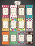 Colorful Patterned Calendar-2017 royalty free illustration