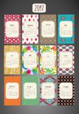 Colorful Patterned Calendar-2017 vector illustration