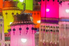 Colorful patterned on ceiling lantern with fabric in northeastern Thai style. Colorful patterned on ceiling lantern with fabric in northeastern Thai style royalty free stock photos