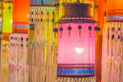 Colorful patterned on ceiling lantern with fabric in northeastern Thai style. Colorful patterned on ceiling lantern with fabric in northeastern Thai style royalty free stock photography