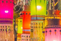 Colorful patterned on ceiling lantern with fabric in northeastern Thai style. Colorful patterned on ceiling lantern with fabric in northeastern Thai style stock images