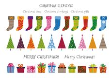 Colorful patterned Christmas trees, gifts and stockings Christma. S elements illustration Royalty Free Stock Image