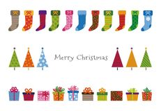 Colorful patterned Christmas trees, gifts and stockings greeting. Card illustration Royalty Free Stock Image