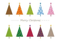 Colorful patterned Christmas trees greeting card. Illustration Royalty Free Stock Photo