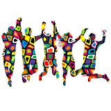 Colorful patterned silhouettes of people holding by hands and ju. Mping Royalty Free Stock Photo
