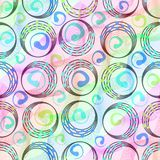 Colorful patterns with rainbow line waves and circles with multicolored dots Stock Images