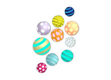 Colorful patterns unique balls sphere set Royalty Free Stock Photo