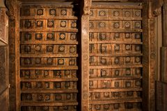 Colorful patterns on wooden ceiling of 15th century monastery of Dominicans in Italy. Colorful patterns on wooden ceiling of 15th century monastery of Dominicans stock photography