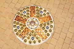 Colorful paving blocks and Mosaic art on the floor of Wat Pra That, Pha Sorn Kaew, in Khao Kor, Phetchabun, Thailand. Colorful paving blocks and Mosaic art on stock photos