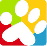 Colorful paw print. Illustration art of a colorful paw print with isolated background Stock Photos