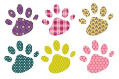 Colorful paw print  icon set Stock Images