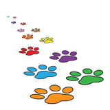 Colorful paw print icon vector illustration isolated on white background Royalty Free Stock Images