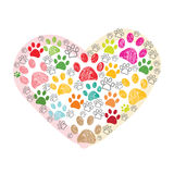Colorful paw print made of hearts vector illustration Royalty Free Stock Photography