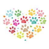 Colorful paw print made of hearts vector illustration. Baby newborn hanging baby symbol. Boy and girl body background Royalty Free Stock Photo