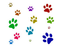 Colorful Paw Prints Royalty Free Stock Images