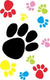 Colorful paw prints. Colorful dog paw prints on white background. vector image Royalty Free Stock Photos