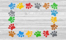 Colorful paw prints animal frame. Stock Image