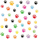 Colorful paw prints pattern Stock Photos