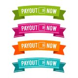 Colorful Payout now ribbons. Eps10 Vector. Money payout website banner Stock Photo
