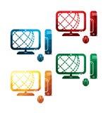 Colorful PC icons on white background. isolated PC icons. eps8. Royalty Free Stock Image