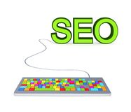 Colorful PC keyboard and big green word SEO. Stock Photos