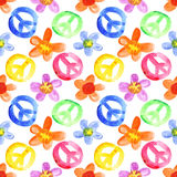 Colorful peace signs and flowers Royalty Free Stock Photography